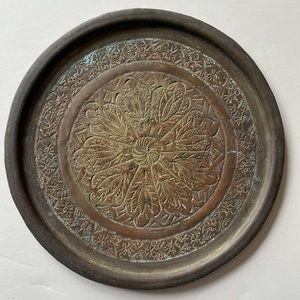 "Antique brass engraved plate 6.5"" vintage"